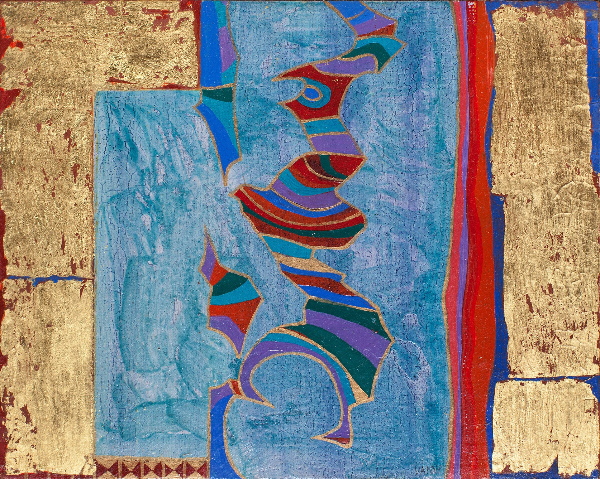 Flying Warrior - Abstract Panel Painting in Blue , Red and Real Gold Leaf