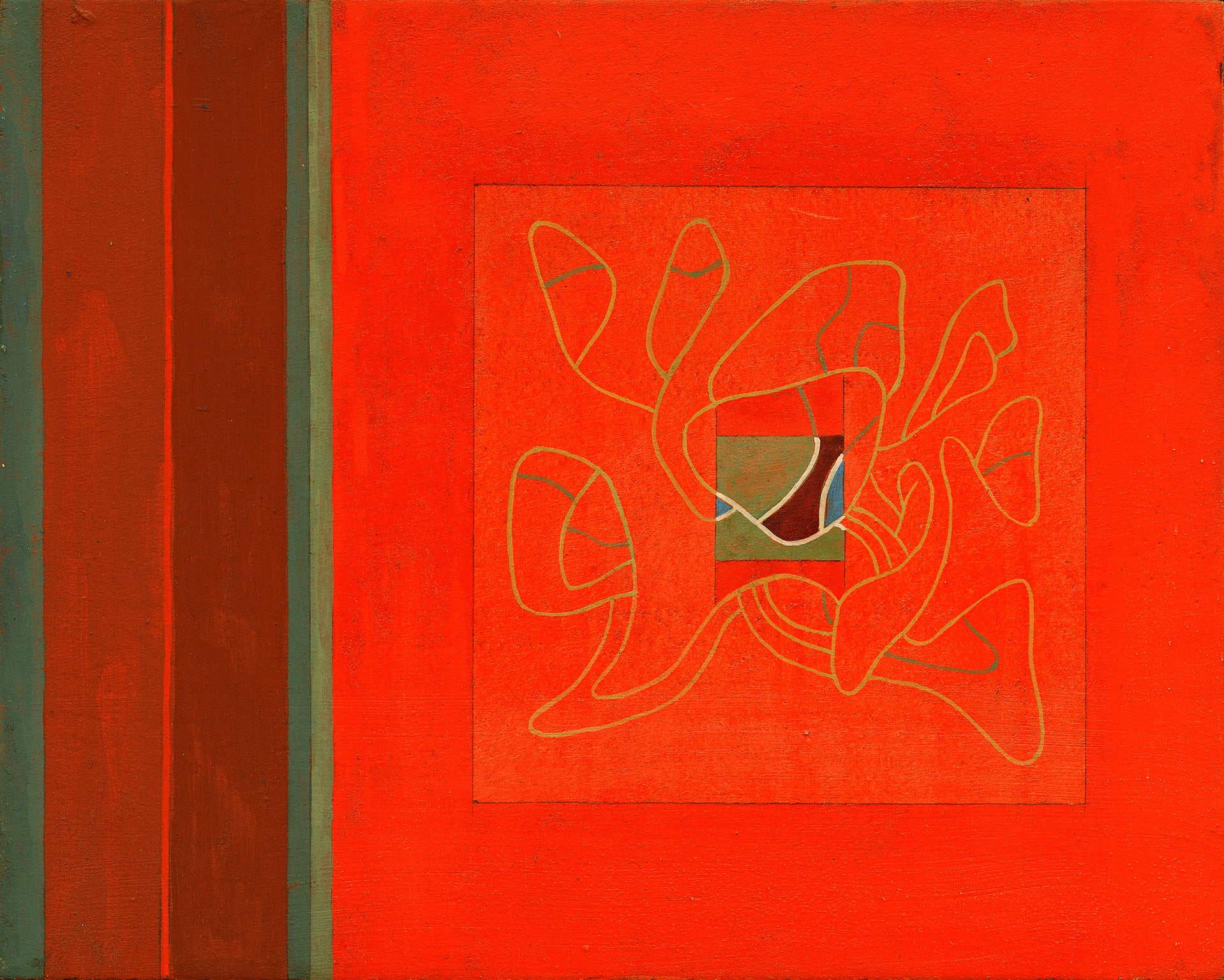 Enigma in Red and Green - Small Egg Tempera Miniature Painting