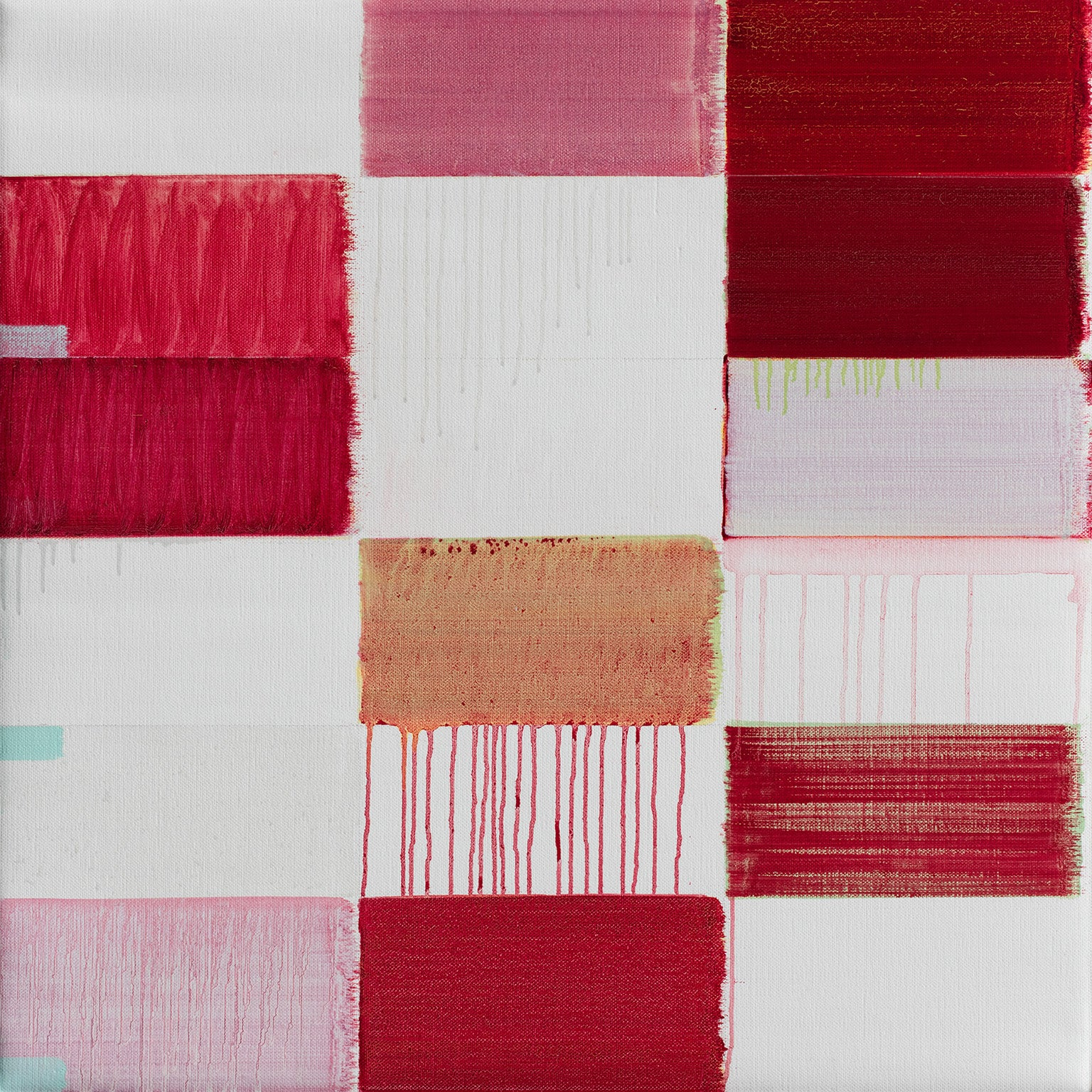 Untitled (1) - Geometric Abstract Oil Painting with Red