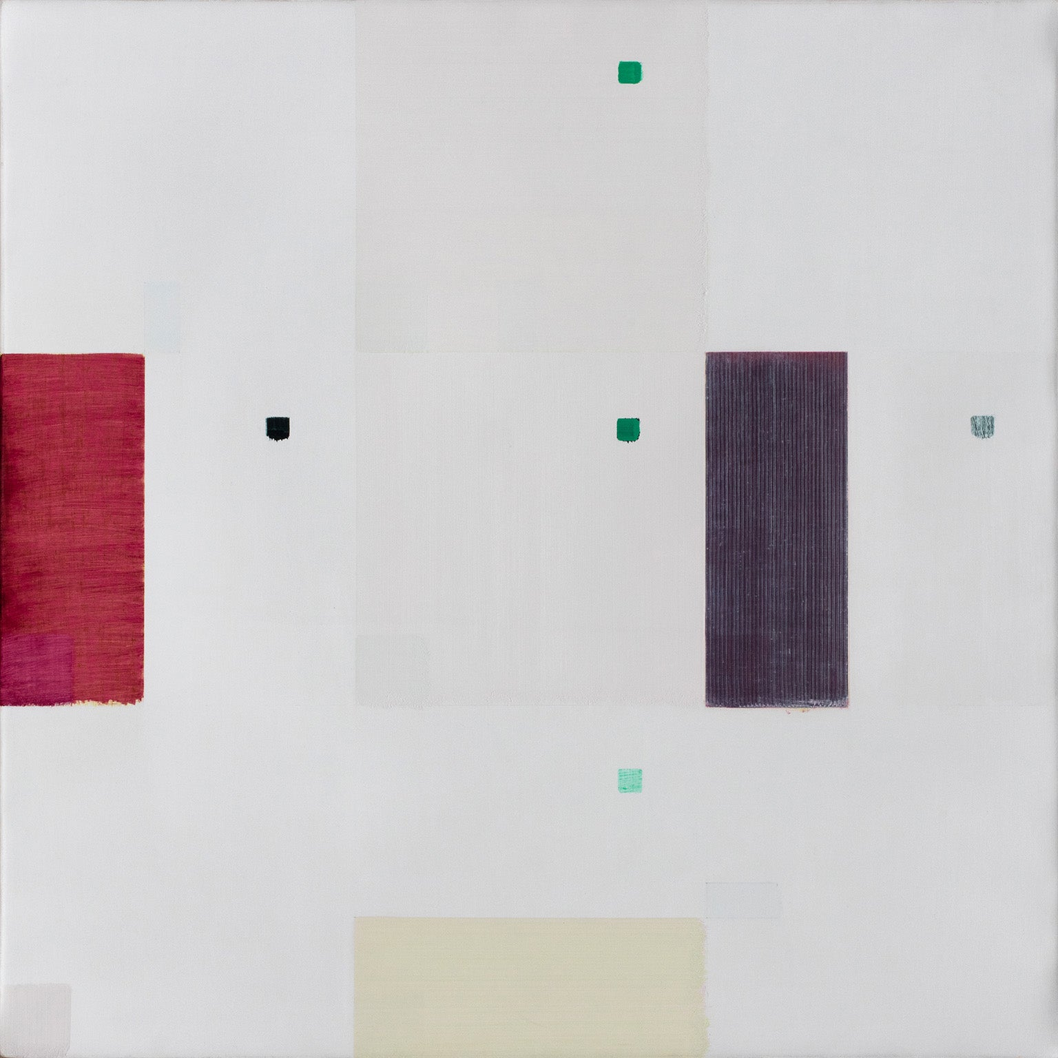 Last Whisper - Geometric Abstract Oil Painting with Purple and Red