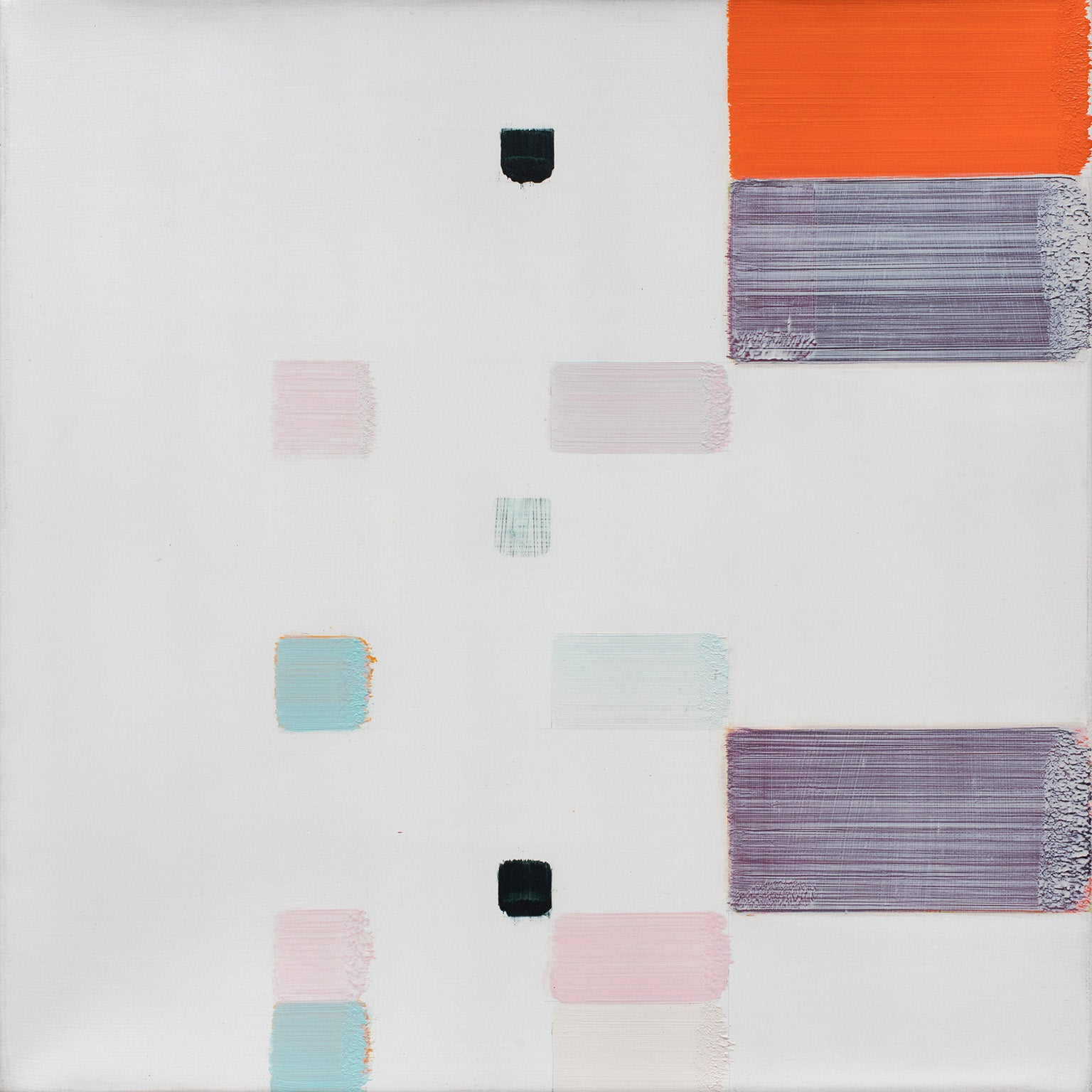 Untitled (2) - Geometric Abstract Oil Painting with Purple and Orange