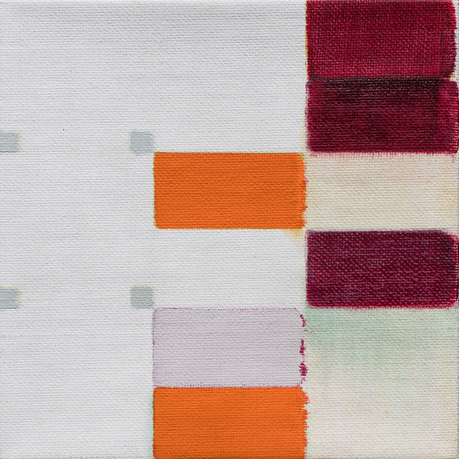 Untitled (9) - Geometric Abstract Oil Painting with Red and Orange