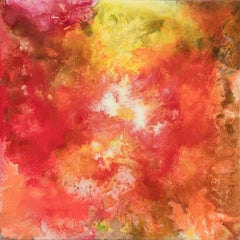 Aurora I - Abstract Oil Painting with Glowing Red and Yellow