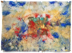Erosions of the Square I - Abstract Artwork. Bronze Leaf on Japanese Silk Paper