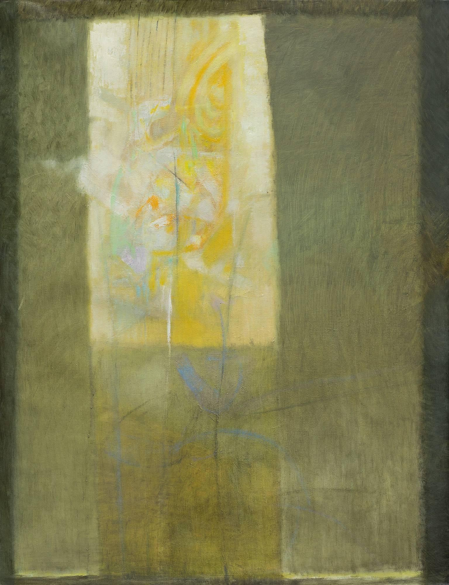 Vitrales Amarillo 4 - Abstract Oil Painting with Green and Yellow Colors