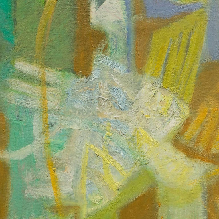 Alfredo Aya's Nocturne 1 is a 35 x 15 inch abstract oil painting on canvas. The main colors are different shades of green, with the delicacy of pastel colors. The painting has the soft luminosity of the light coming in through stained glass