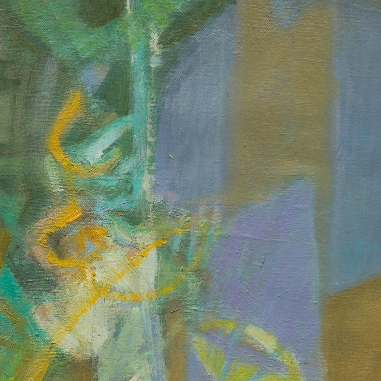 Nocturno 1 - Abstract Oil Painting With Green and Blue Colors For Sale 1