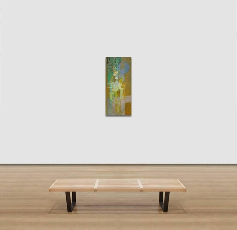Nocturno 1 - Abstract Oil Painting With Green and Blue Colors For Sale 3