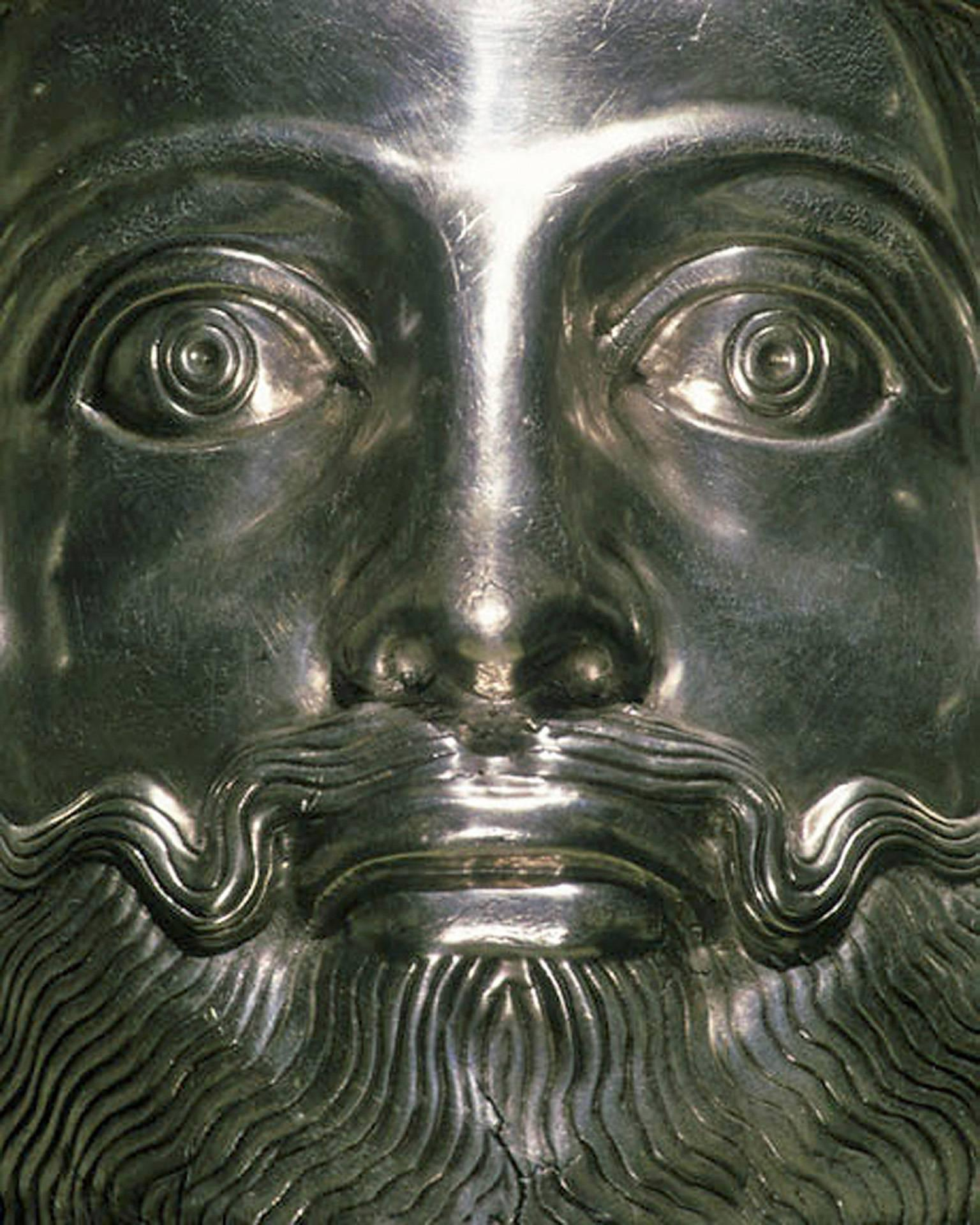 F017, Iranian, Guild Silver - Close-Up Photograph of Silver Iranian Sculpture