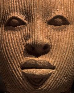 F019, Nigerian, Terracotta - Photograph of African Terracotta Figure Face