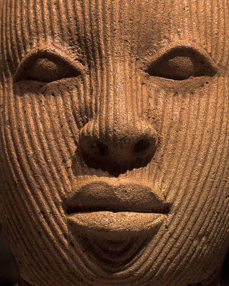 Pierre Sernet Portrait Photograph - F019, Nigerian, Terracotta - Photograph of African Terracotta Figure Face