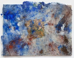 Erosions of the Square in Blue II - Abstract Artwork on Japanese Silk Paper