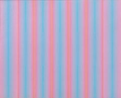 """Ozone"" - Historic blue and pink large color field oil painting dated 1969"