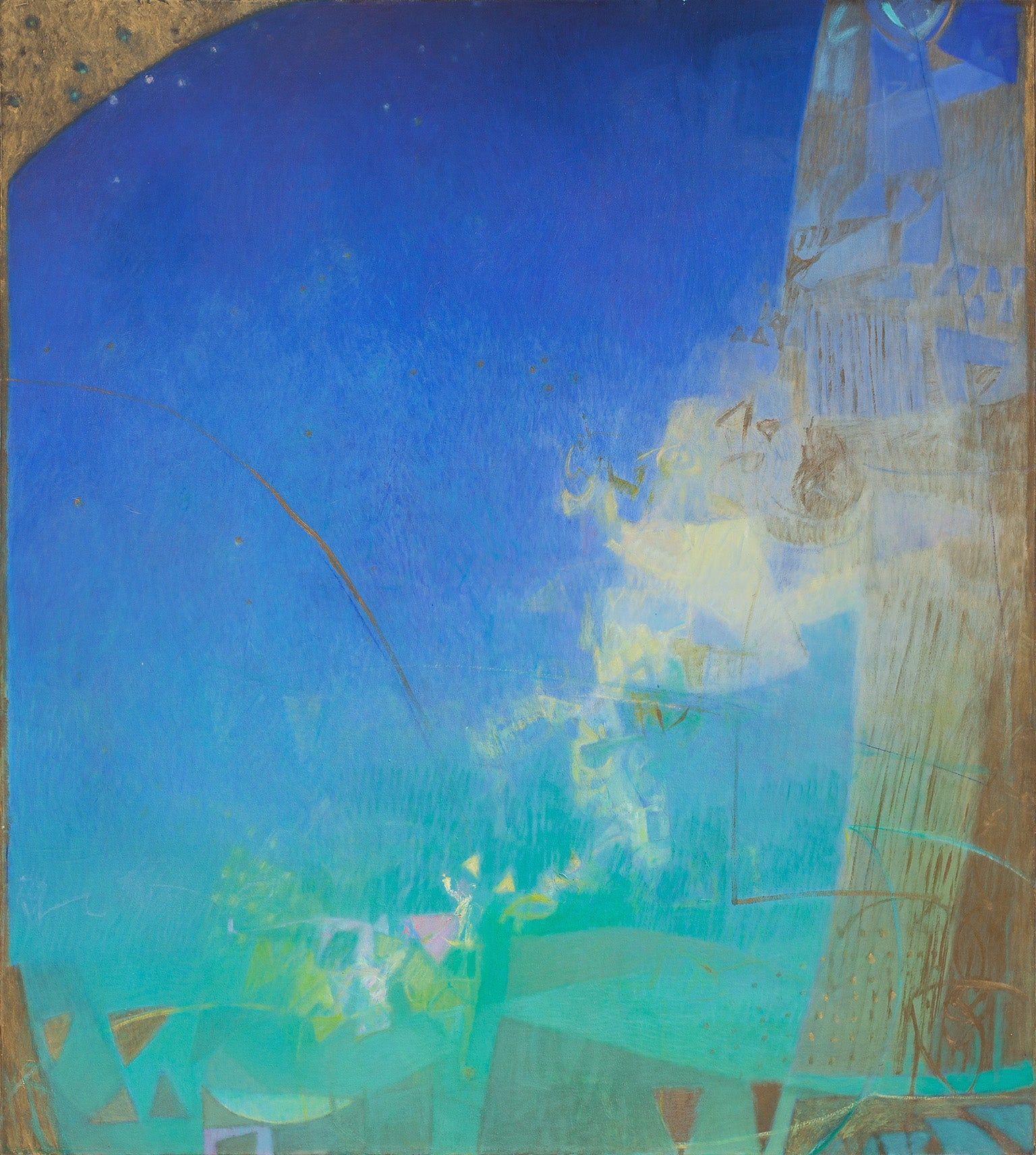 The Hours: Night - Large Abstract Oil Painting with Intense Blue Colors