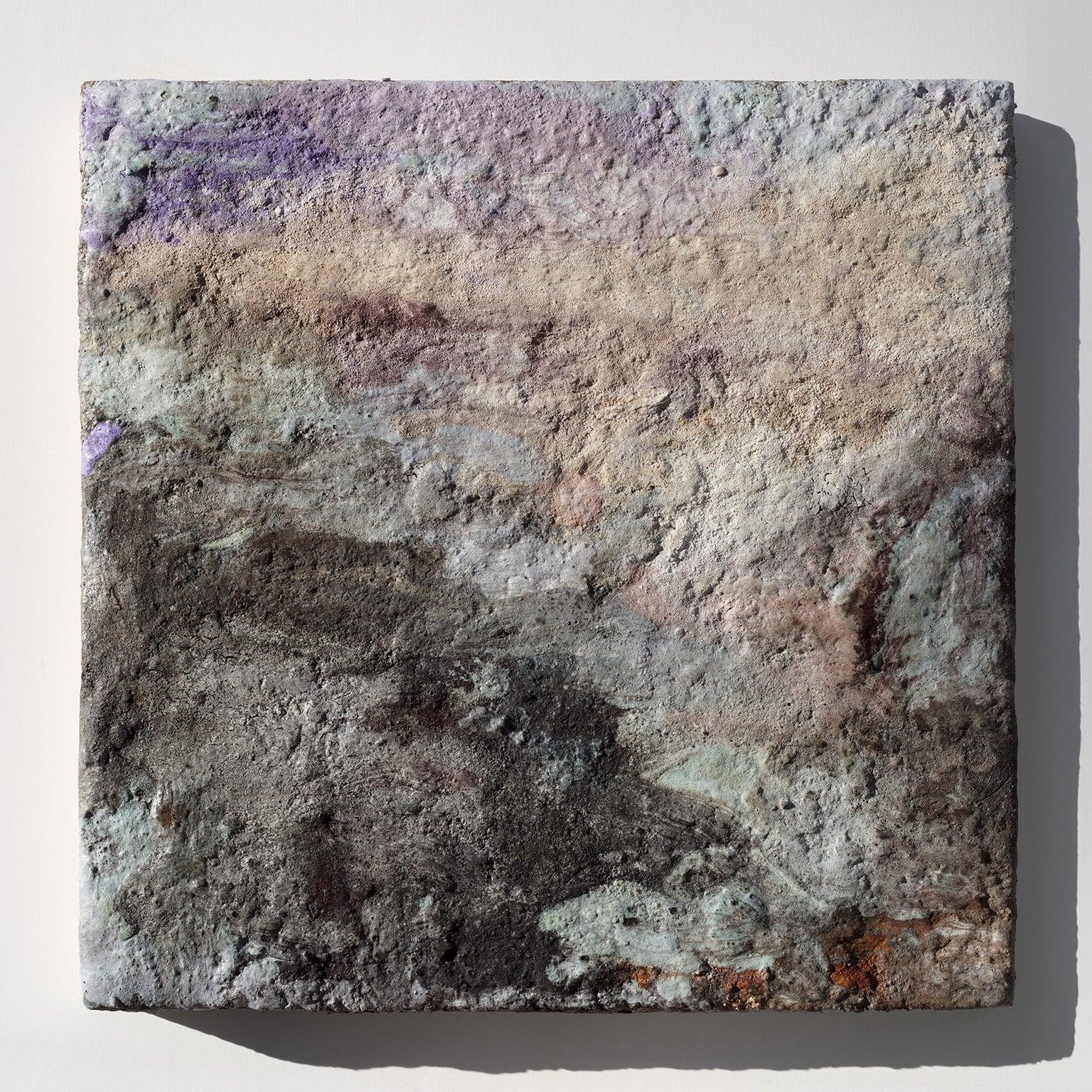 """Terra Bruciata - Alba II"" - Small Abstract Purple and Grey Painting"