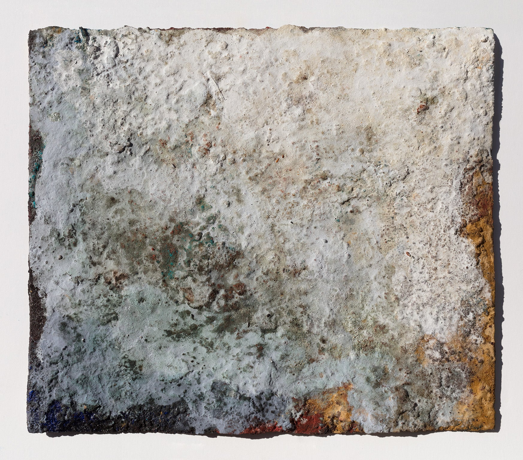 Terra Bruciata (Scorched Earth) - Small Abstract Blue and Gray Painting