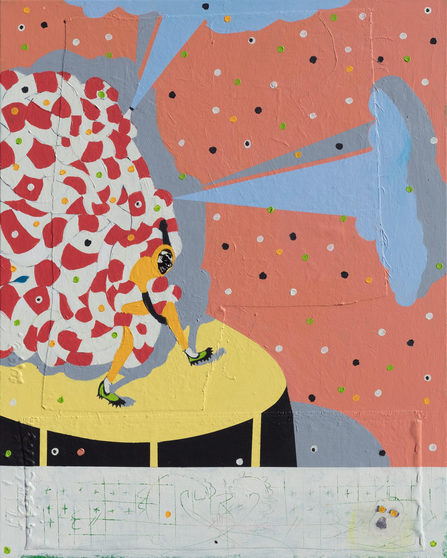 Mumbo Jumbo NYC#5 - Figurative Painting with Red, Pink, Blue, and Yellow Colors