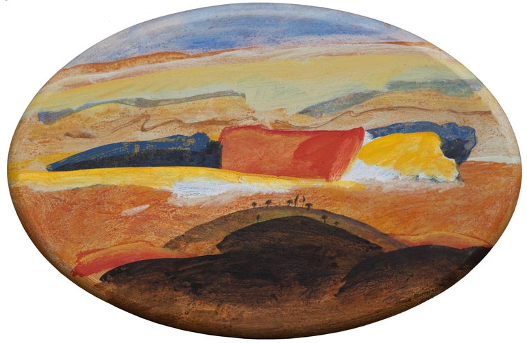 Paolo Buggiani Landscape Painting - Tuscany, Italian Landscape - Oval Oil Painting of Countryside in Tuscany