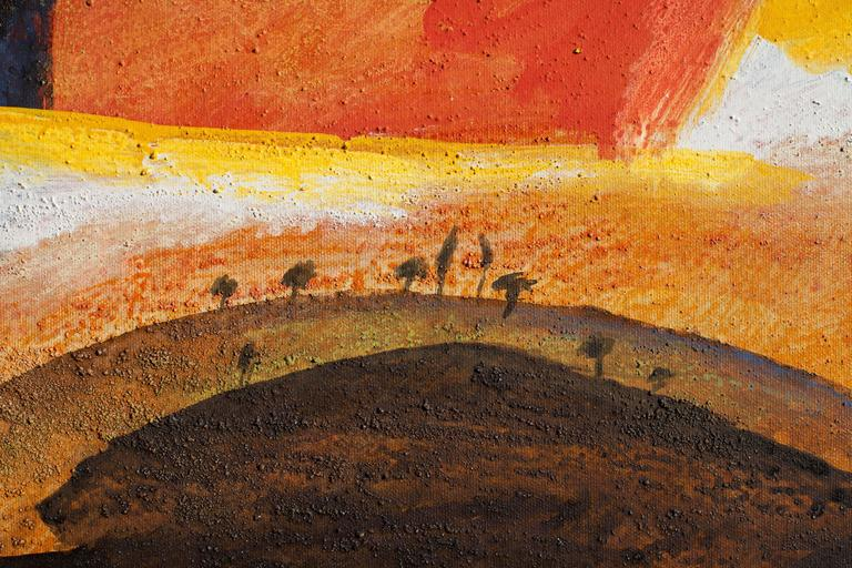 Tuscany, Italian Landscape - Oval Oil Painting of Countryside in Tuscany - Orange Landscape Painting by Paolo Buggiani