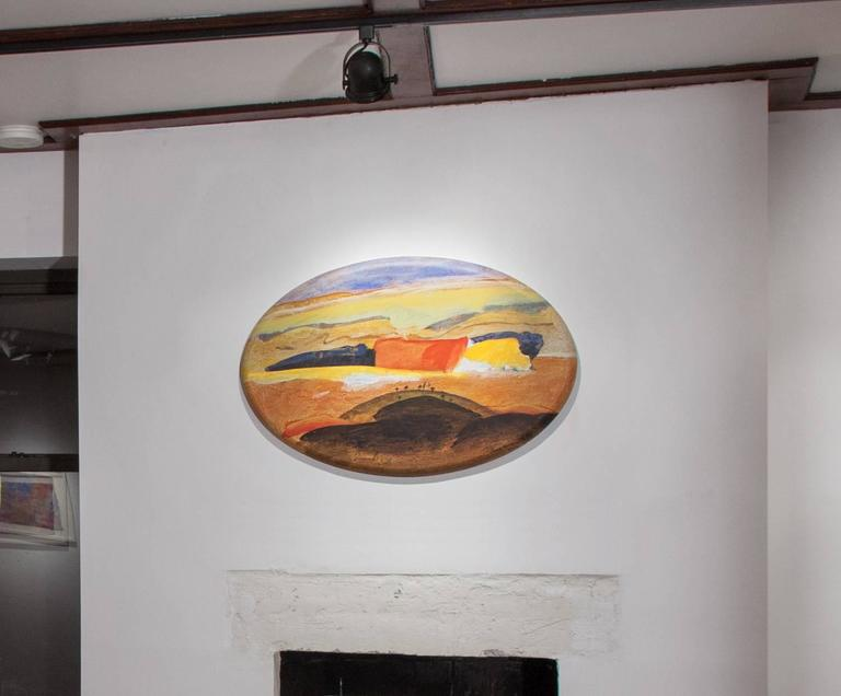 Tuscany, Italian Landscape - Oval Oil Painting of Countryside in Tuscany For Sale 1