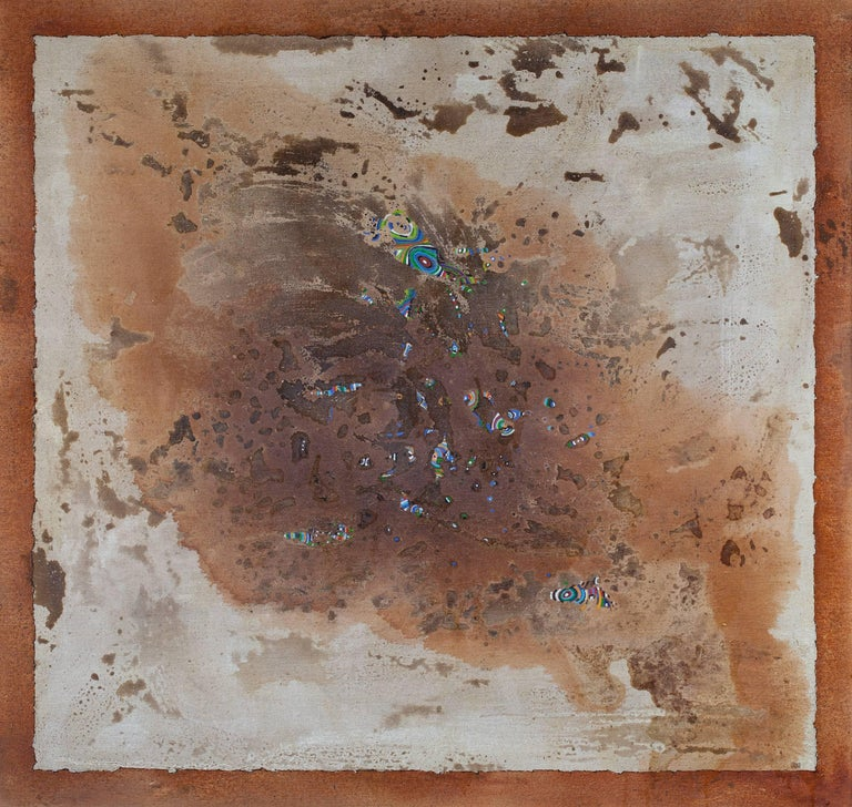 Gian Berto Vanni Abstract Painting - From Magma, Life - Abstract Oil Painting with Brown and Beige Colors