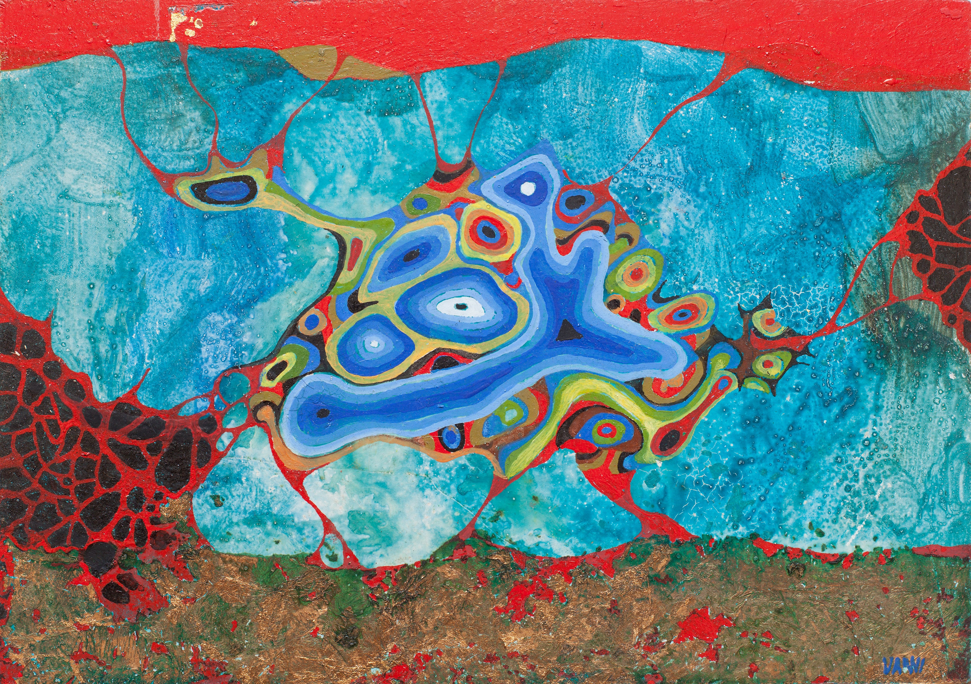 Subaqueous Dinosaur - Abstract Surrealism Tempera Miniature with Gold Leaf