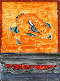 Dance of the Humming Fish - Abstract Panel Painting with Orange and Blue