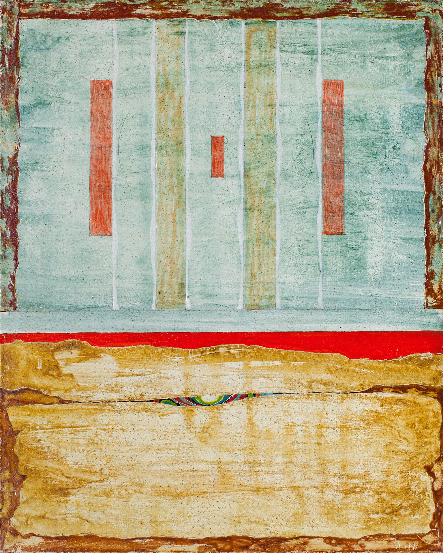 The Monument and the Desert - Small Abstract Geometric Panel Painting