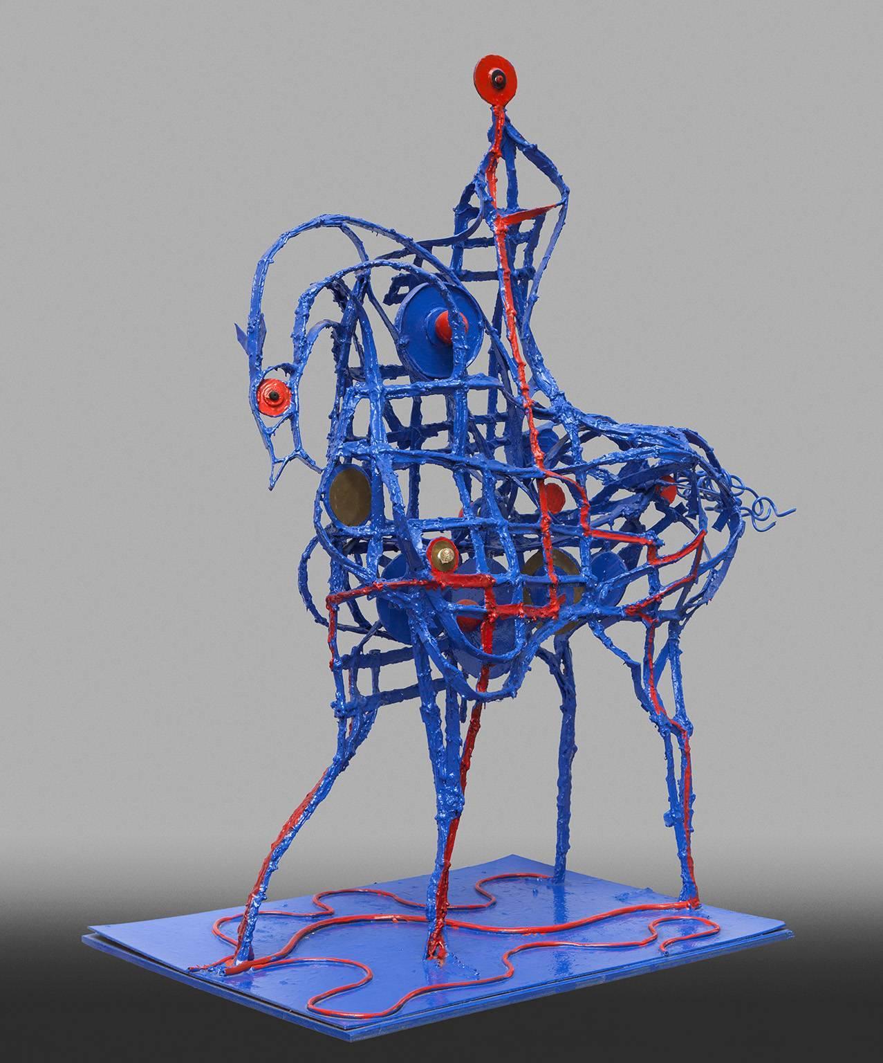 Don Quixote - Resin and Metal Blue Sculpture