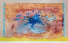 Mirage in Blue - Abstract Landscape Painting with Mauve, Blue and Yellow Colors