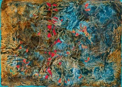 Search in the Meadows - Abstract Blue and Red Oil Painting with Paper Collage
