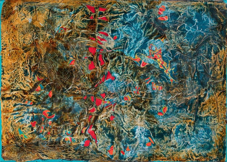 Gian Berto Vanni Abstract Painting - Search in the Meadows - Abstract Blue and Red Oil Painting with Paper Collage