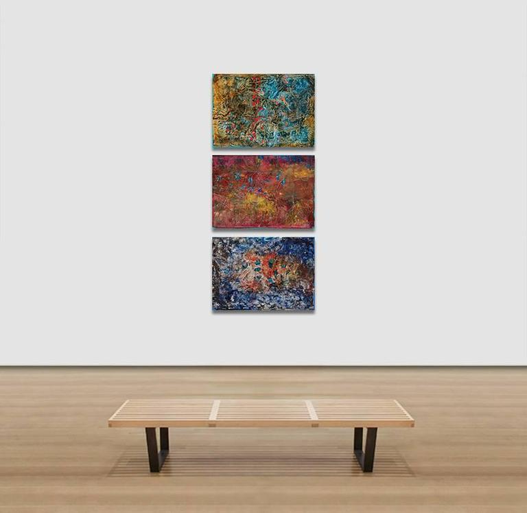 Search in the Meadows - Abstract Blue and Red Oil Painting with Paper Collage For Sale 3