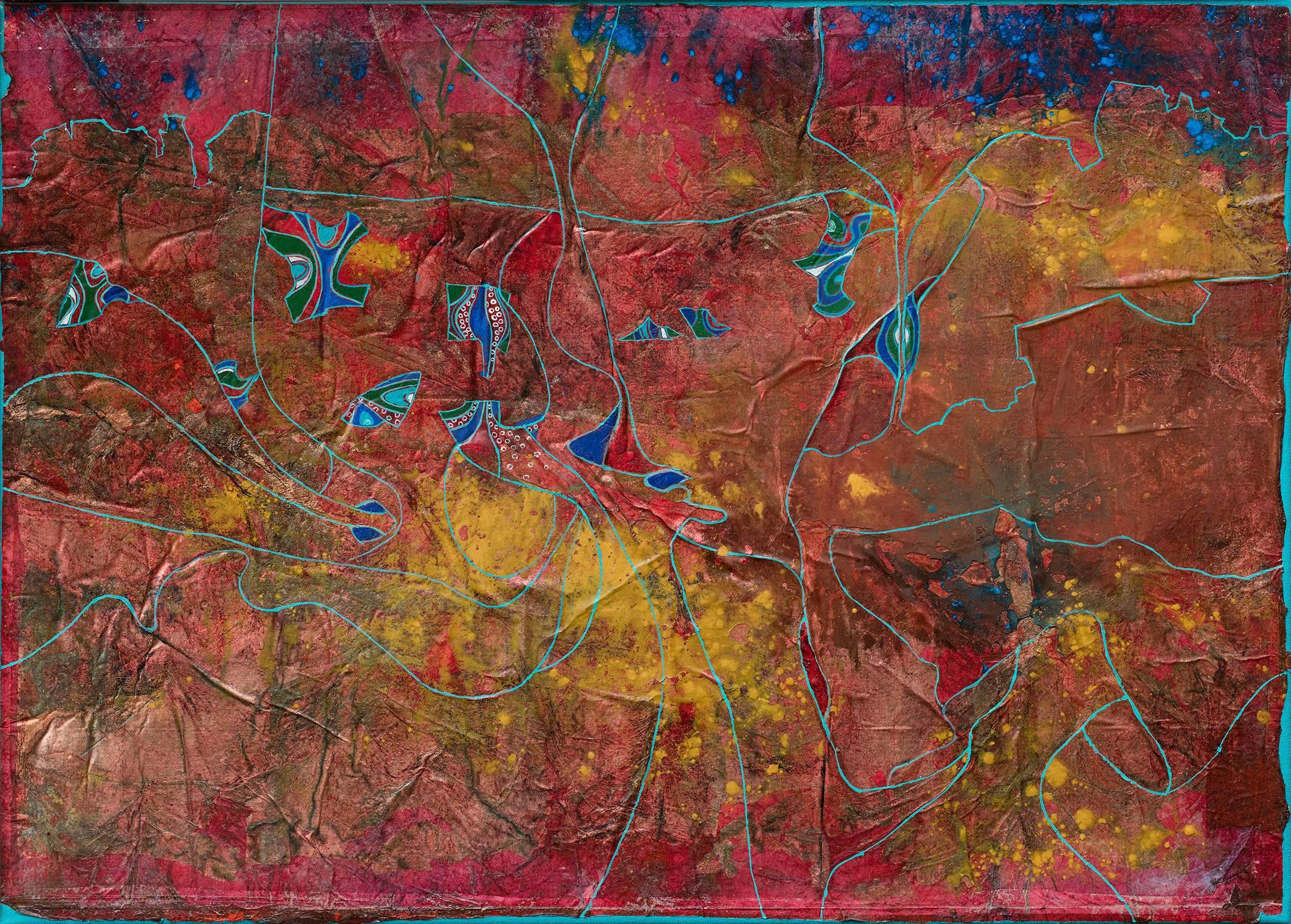 Life growing in a Metal World - Abstract Blue and Red Oil Painting