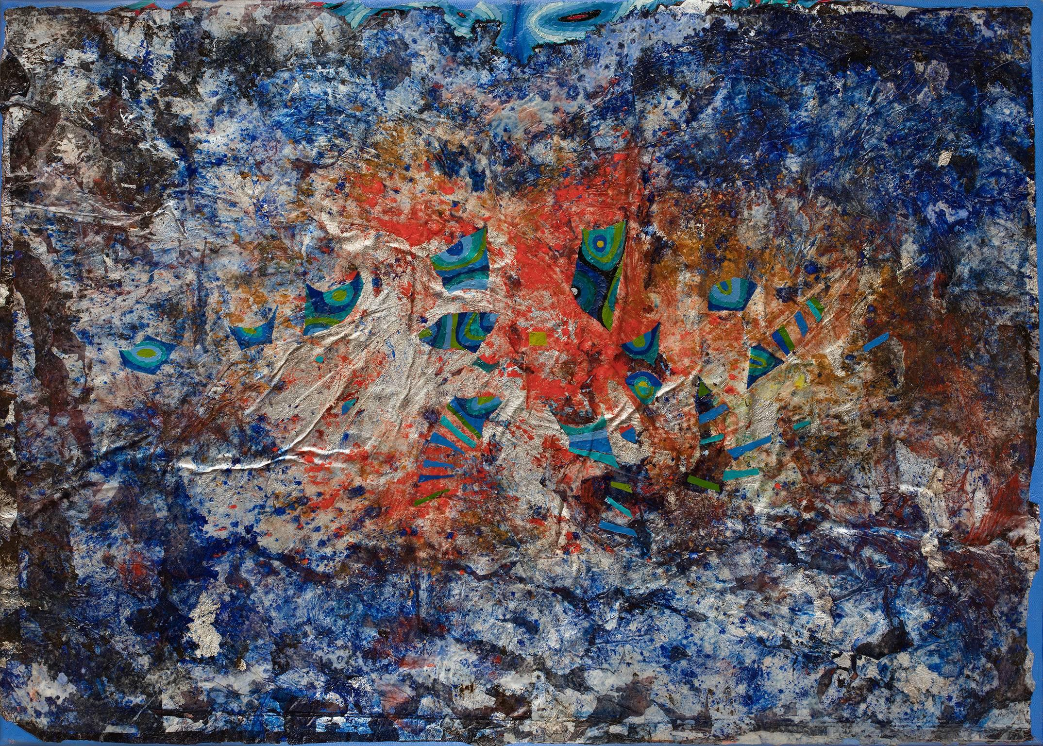 In Search of Light - Abstract Blue, Red and Silver Oil Painting