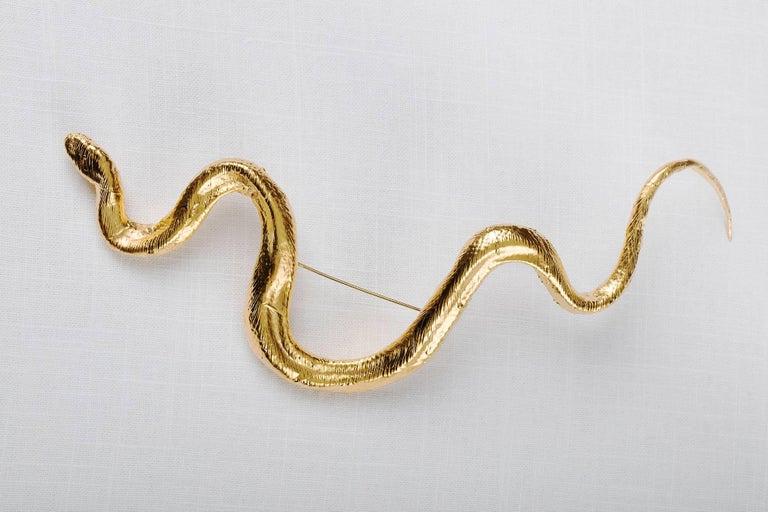 Broche serpent doré