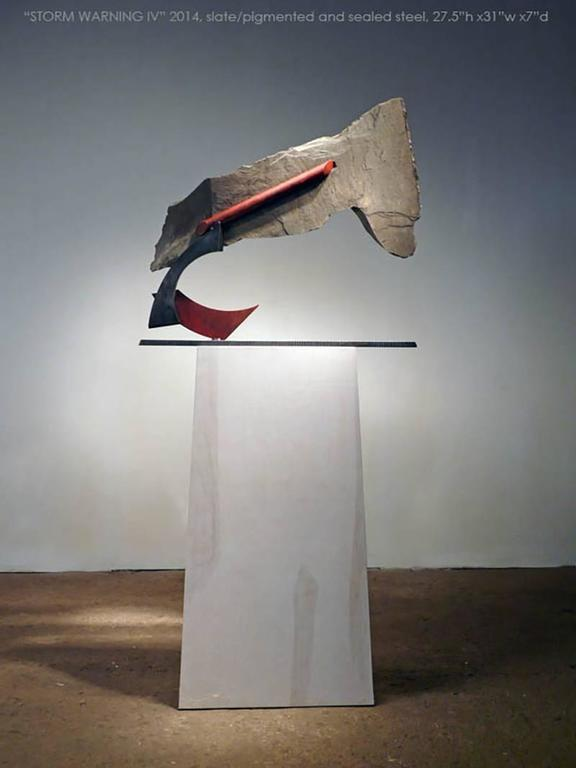 Medium: Slate, Pigmented and Sealed Steel  Stone and metal, usually granite or slate and found object steel are central in my sculpture. The interaction of these materials is a major focus. On the most basic level the work is about the marriage of