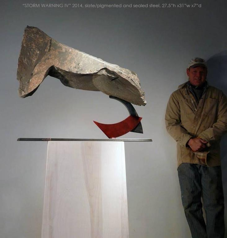 Stormwarning IV - Gray Abstract Sculpture by John Van Alstine