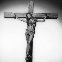Raquel Welch On The Cross (Co-Signed) B&W