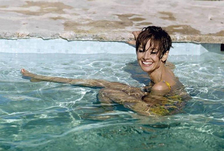 Terry O'Neill Color Photograph - Audrey Hepburn Pool (color)