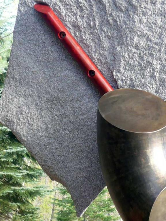 granite, pigmented and sealed steel  Stone and metal, usually granite or slate and found object steel are central in my sculpture. The interaction of these materials is a major focus. On the most basic level the work is about the marriage of the