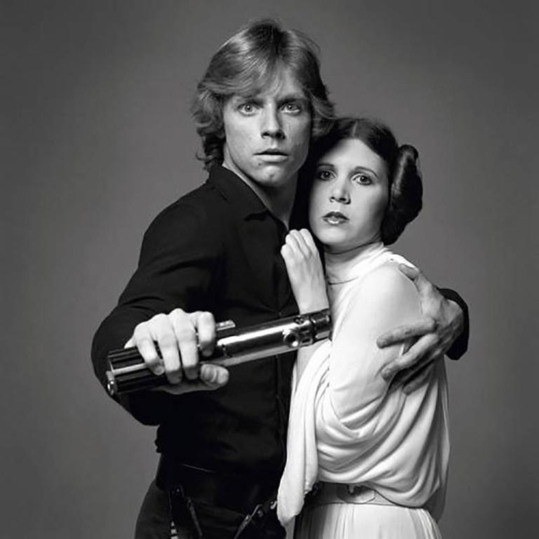 Mark Hamill and Carrie Fisher as Luke Skywalker and Princess Leia
