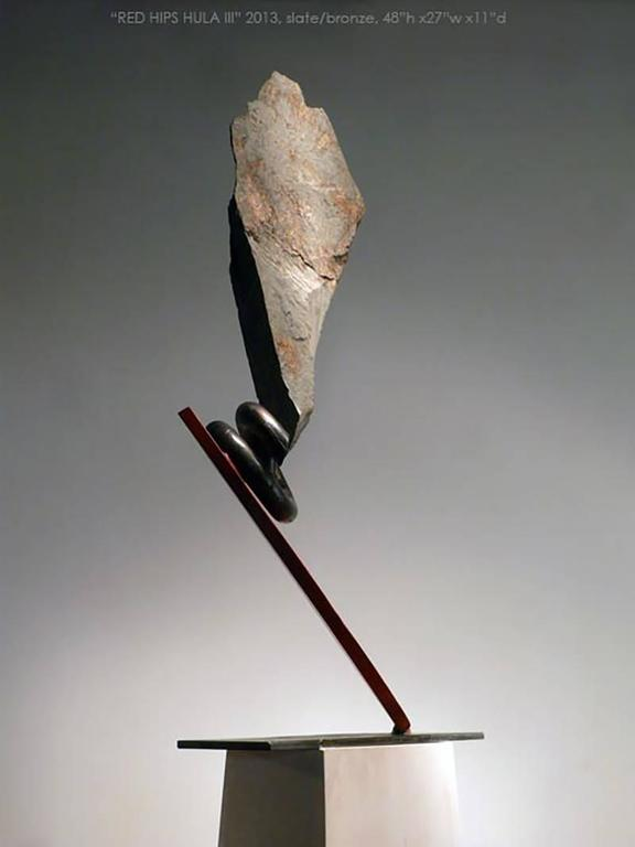 Red Hips Hula II - Gray Abstract Sculpture by John Van Alstine