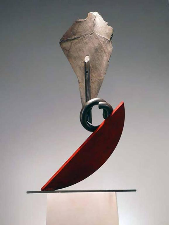 Stone and metal, usually granite or slate and found object steel are central in my sculpture. The interaction of these materials is a major focus. On the most basic level the work is about the marriage of the natural with the human-made.    Stone