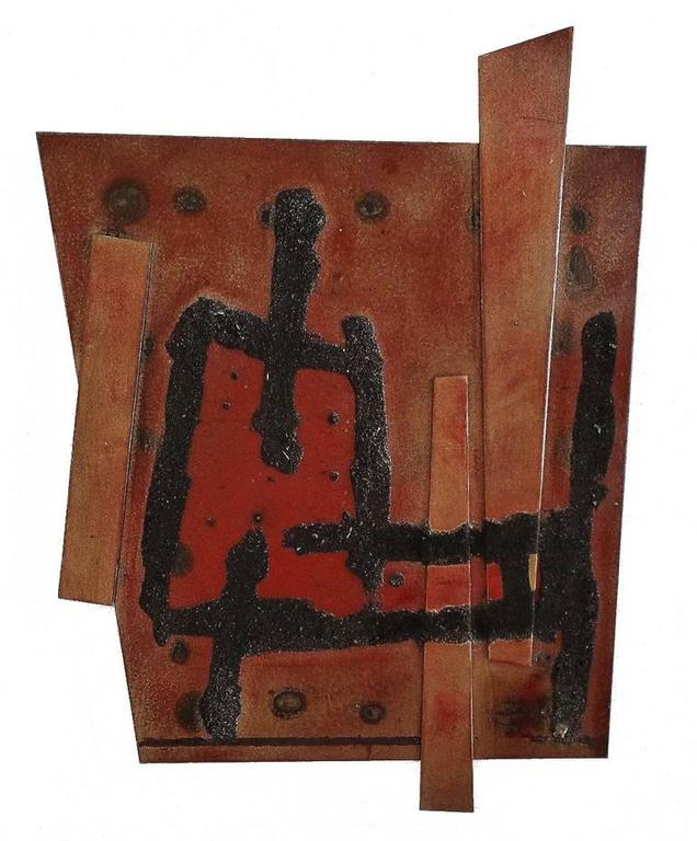 Alex Corno Abstract Sculpture - Red and Brown Relief