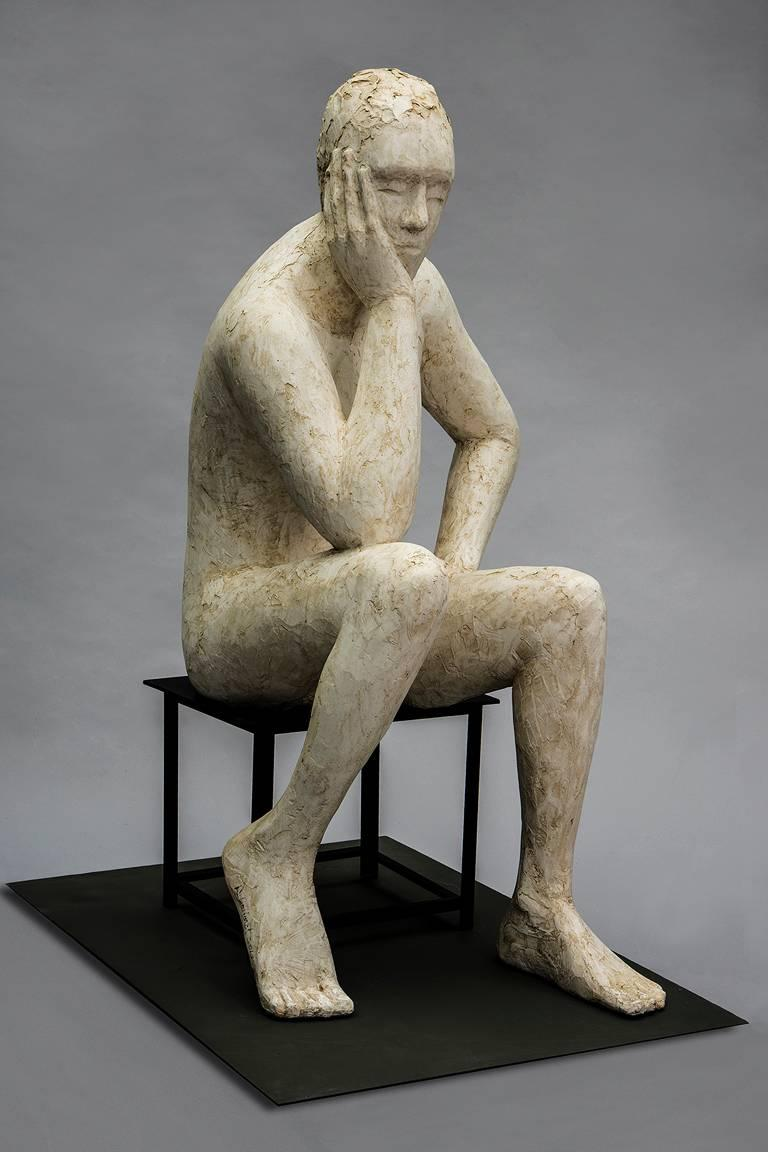 Deborah Ballard Figurative Sculpture - Think II
