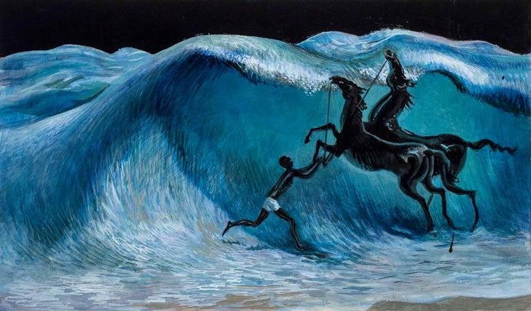 Horse Bath - Painting by Barnaby Fitzgerald