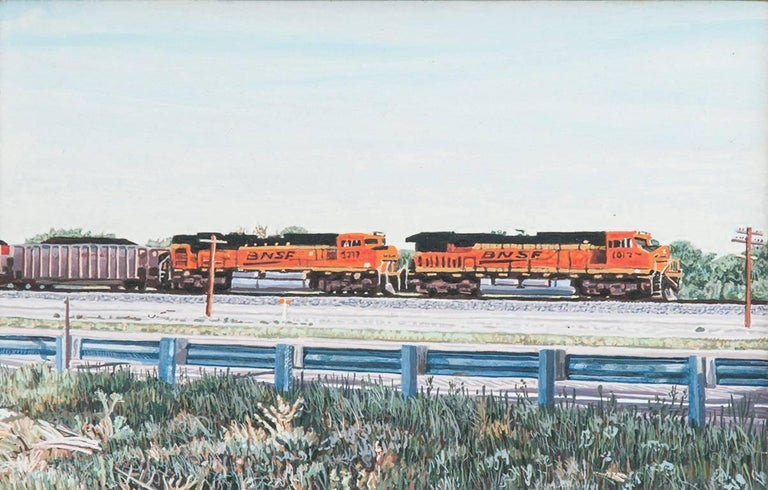 Eastbound Freight Train, Colorado; US Highway 50 - Painting by Lloyd Brown