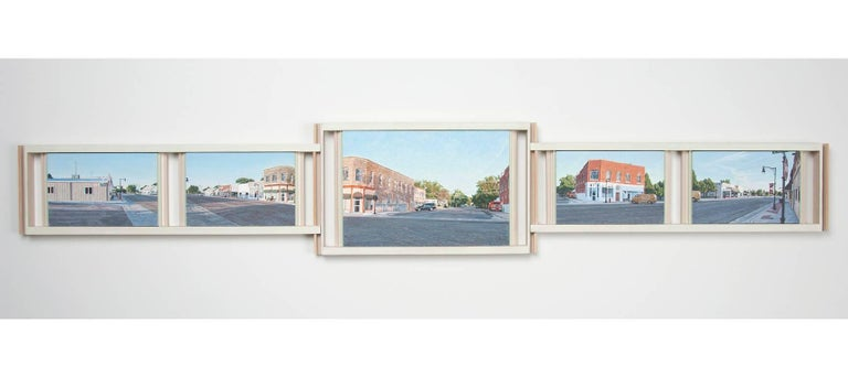 Lloyd Brown Landscape Painting - Early Morning, Downtown Holly, Colorado, US Highway 50