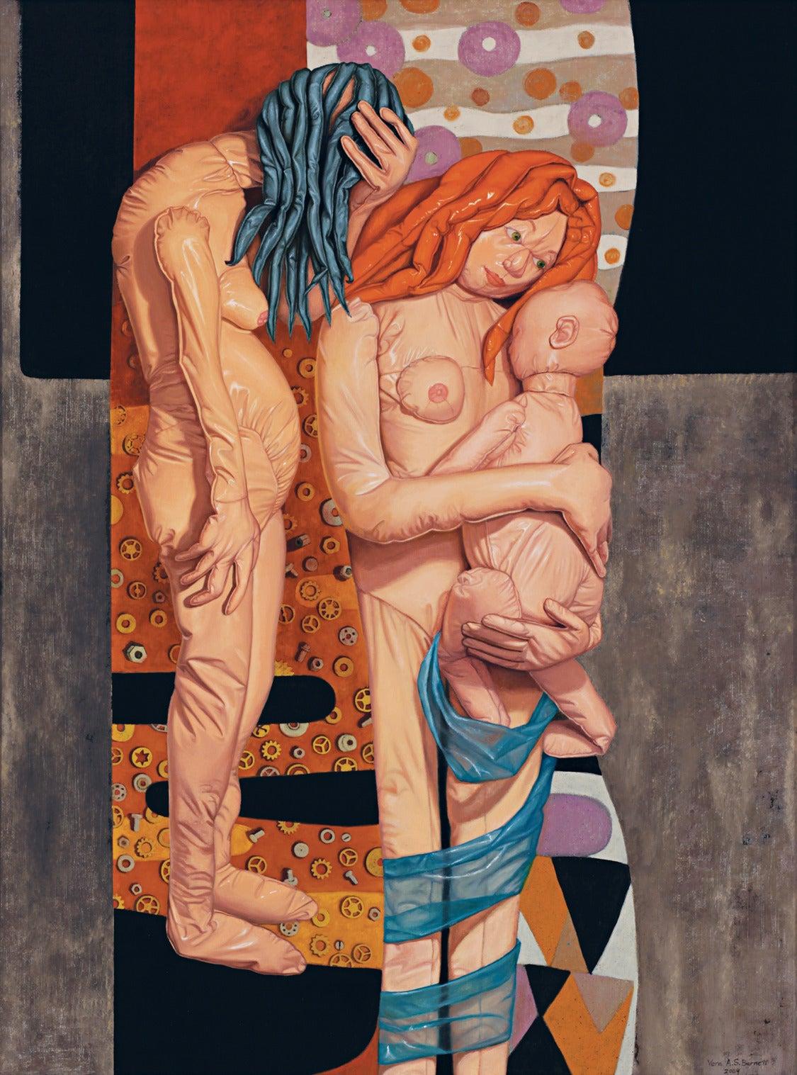 Vera Barnett Nude Painting - Three Ages of Woman (after Gustav Klimt)